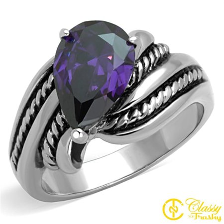 Classy Not Trashy® Size 8 Women's Two Tone Rope Ring with Pear Cut Amethyst Hue CZ
