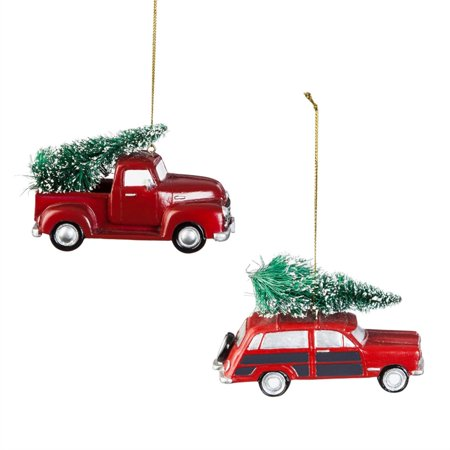 Red Polystone Truck and Station Wagon Ornament, 2 ASST