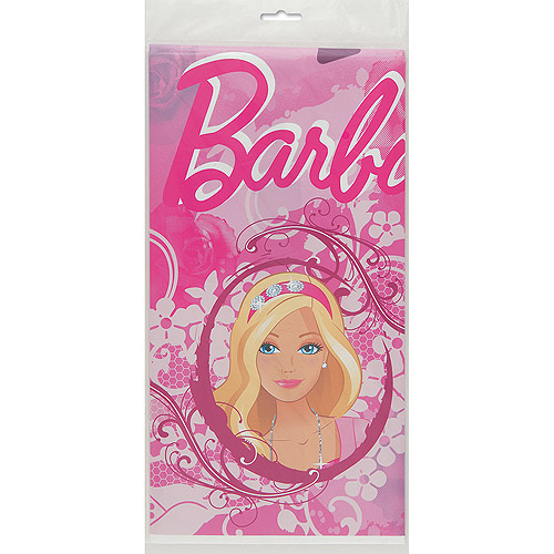 "Plastic Barbie Table Cover, 84"" x 54"""