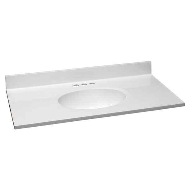 Design House Cultured Marble Vanity Top 37x19 Solid White Walmart Com Walmart Com