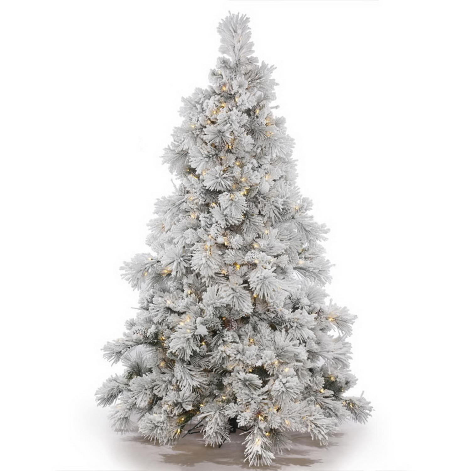 7.5' Pre-Lit Flocked Alberta with Pine Cones Artificial Christmas Tree - Multi LED Lights