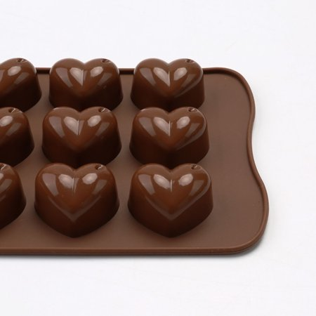 Electronicheart 15 Grids Chocolate Heart Shaped Mold Ice Cube Fondant Making Mould Tray Home Bakery Baking Tool - image 7 de 8