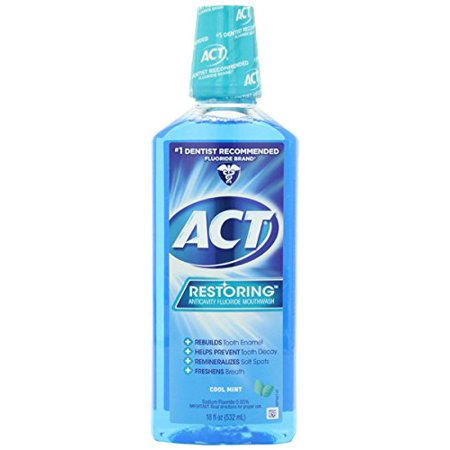 (2 pack) ACT Restoring Anticavity Fluoride Mouthwash Cool Mint, 18 -