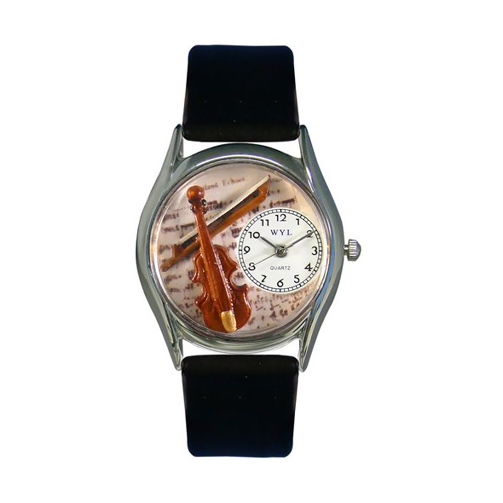 Whimsical Violin Black Leather And Silvertone Watch