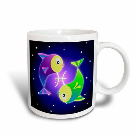 3dRose Cute Astrology Pisces Zodiac Sign Fish, Ceramic Mug, 11-ounce Pisces Zodiac Mug