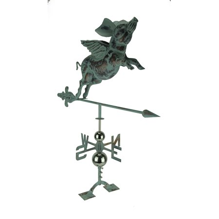 - Verdigris Patina Metal Flying Pig Weather Vane with Roof Mount