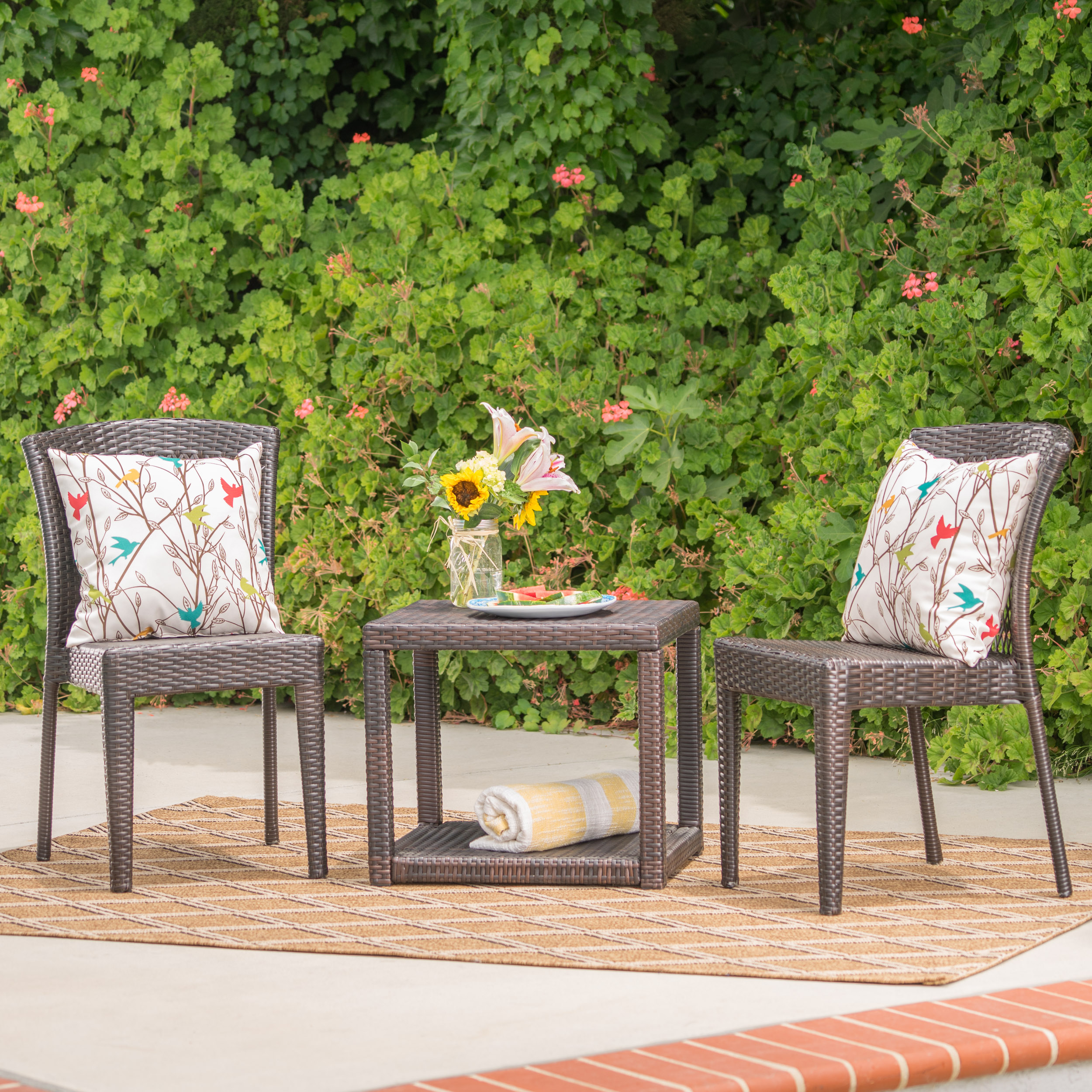 Ava Outdoor 3 Piece Wicker Stacking Chair Chat Set, Multibrown