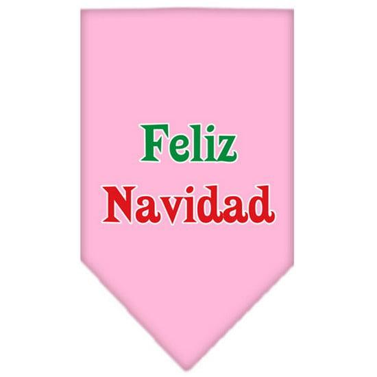 Feliz Navidad Screen Print Bandana Light Pink Large