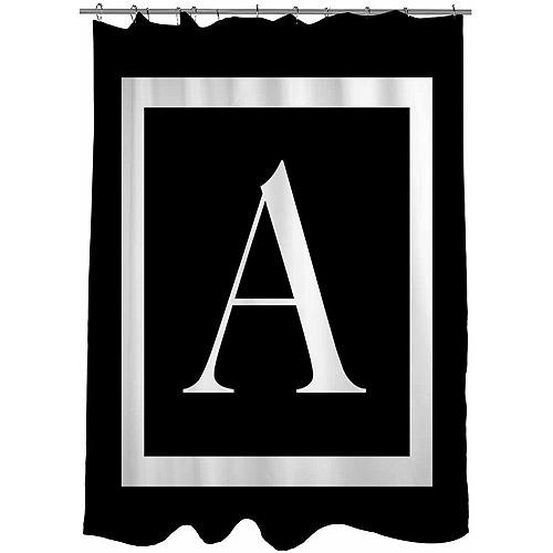 "Black Shower Curtains thumbprintz classic block monogram black shower curtain, 71"" x 74"