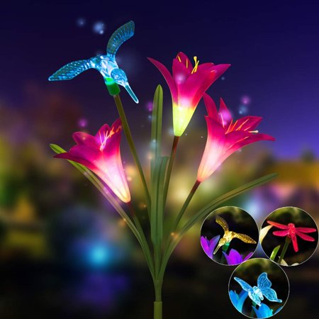 Outtop Lily Flower Solar Powered Garden Stake Light Multi-color Change LED (Lily Stake)