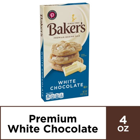 Baker's Premium Baking White Chocolate Bar, Sweetened, 4 oz Box (Semi Sweet Baking Bar)