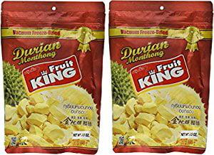 King Fruit Vacuum Freeze Dried Durian Fruit 7 Oz (Monthong Chunk) (3.5 Oz X 2 Bags) by