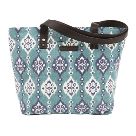 Turquoise Blue Bohemian Handbags Lanai Shoulder Tote Cotton Distressed Appearance Pewter Hardware Canvas Ikat Shoulder Bag