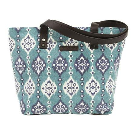 Turquoise Blue Bohemian Handbags Lanai Shoulder Tote Cotton Distressed Appearance Pewter Hardware Canvas Ikat Shoulder Bag