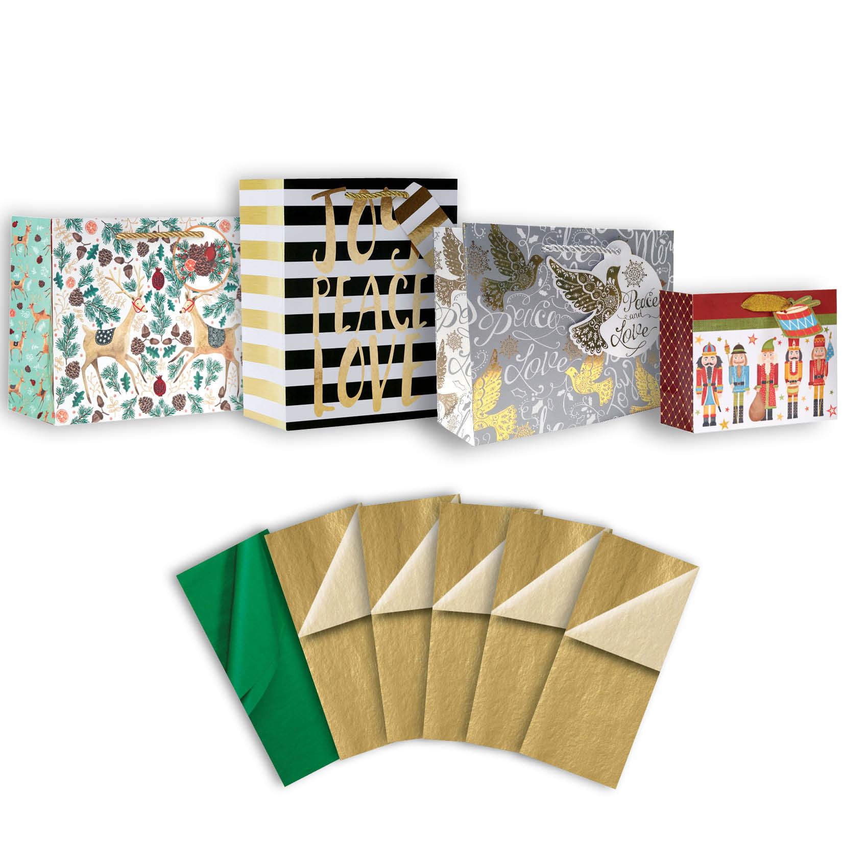 Jillson & Roberts Gift Bag & Tissue Assortment, Christmas Designs (4 Bags)