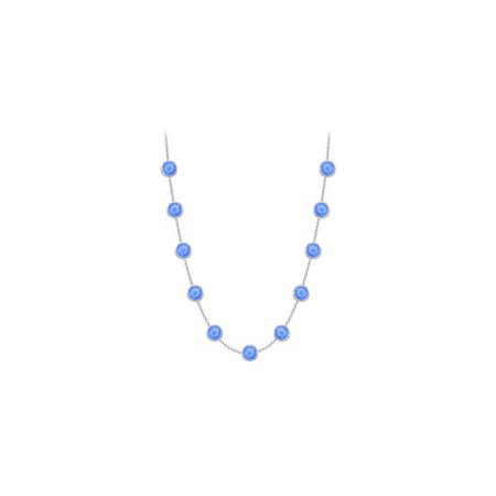 LoveBrightJewelry Diamonds By The Yard Blue Diffuse Sapphires Necklace on 14K White Gold Bezel Set 3.00 ct.tw