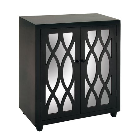 "DecMode Wood Glam Cabinet with Reflective Mirror, Black, 36""H"