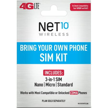 NET10 SIM Card for Verizon Tower CDMA Network 3-in1 Cut