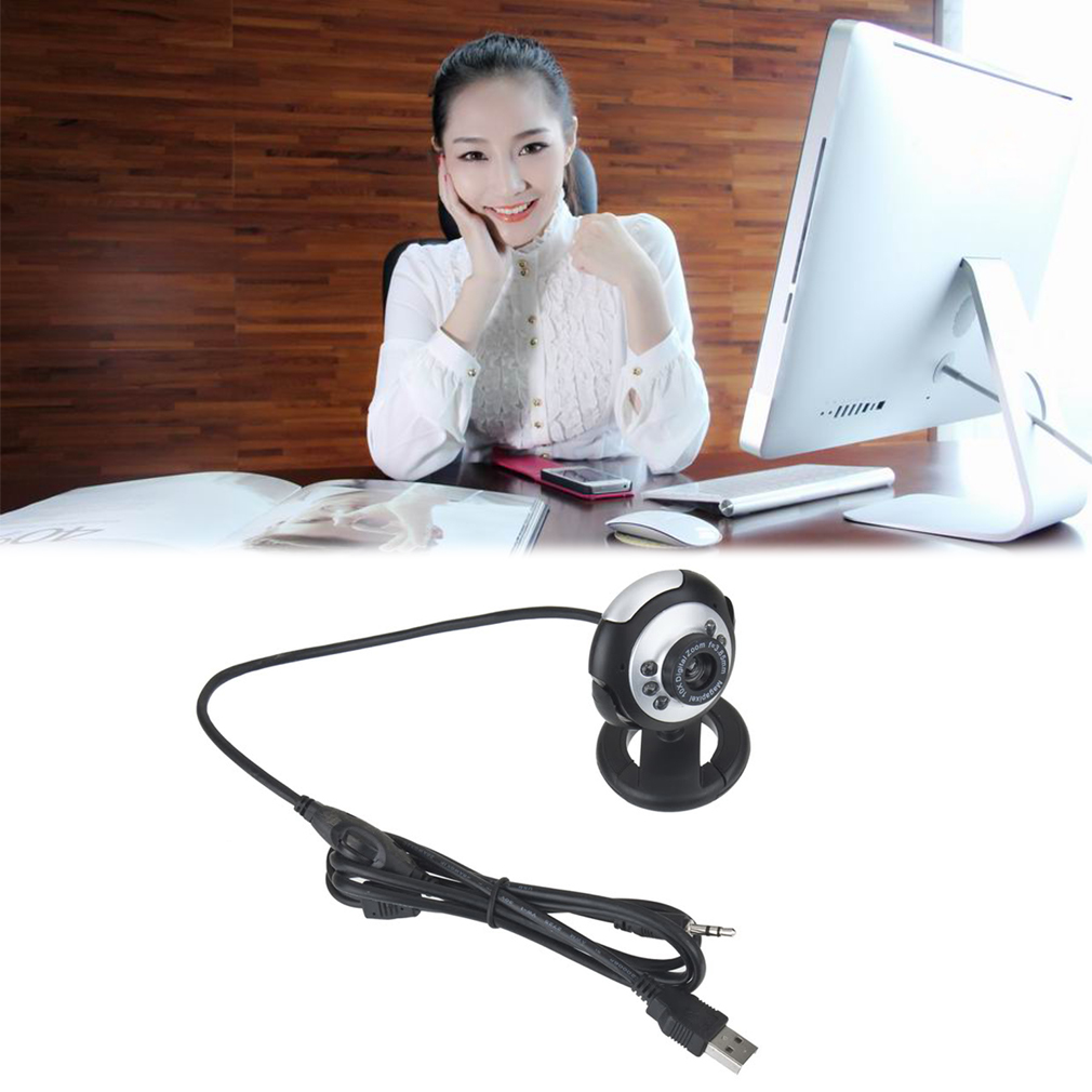 LESHP - HD 12.0 MP 6 LED USB Webcam Camera with Mic & Night Vision for Desktop PC