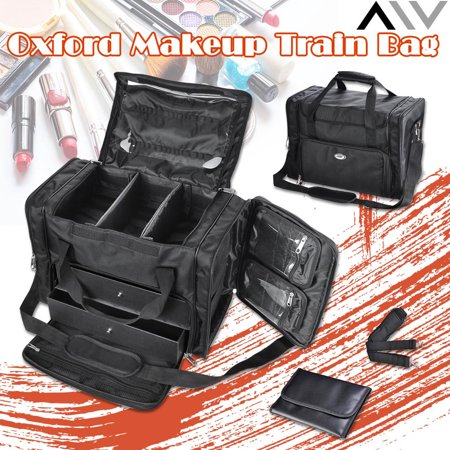 AW 1200D Oxford Pro Black Soft Makeup Train Bag Case Pockets  Artist Cosmetic Organizer Box with Strap Travel