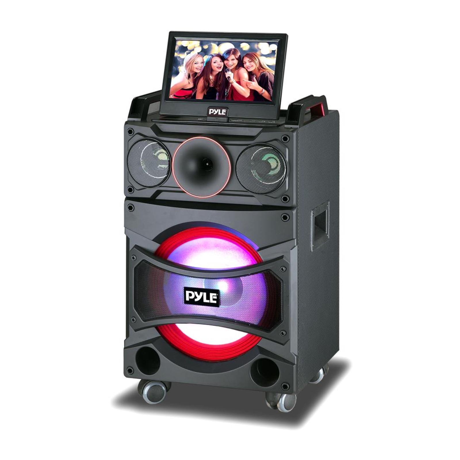 "Pyle Karaoke Vibe Portable Video PA Speaker System with Built-in Multimedia Disc Player, 10"" Fold-Out Display Screen (12"" Speaker, 800 Watt)"