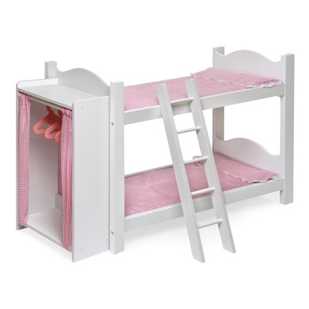 Badger Basket Doll Armoire Bunk Bed with Ladder - White/Pink - Fits Most 18