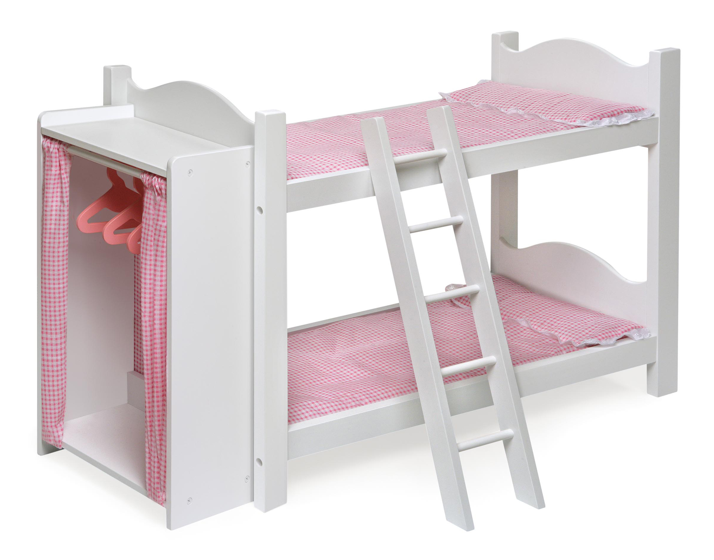 Badger Basket Doll Armoire Bunk Bed With Ladder   White/Pink   Fits  American Girl