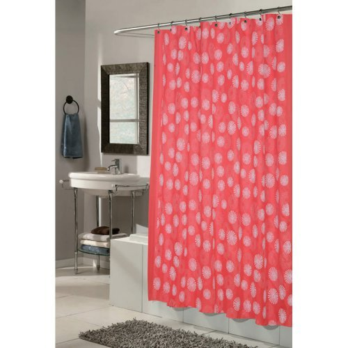 Carnation Home Fashions Vienna Circle Pattern Fabric Shower Curtain