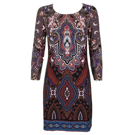 Inc International Concepts Brown Multi Paisley Printed Boat Neck Sheath Dress  S