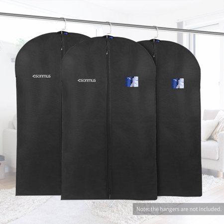 dbf6c4715abb Esonmus 3pcs 128 * 60cm Non-Woven Dustproof Hanging Garment Clothes Bags  Dress Suit Covers with PVC Window for Closet Travel--Black