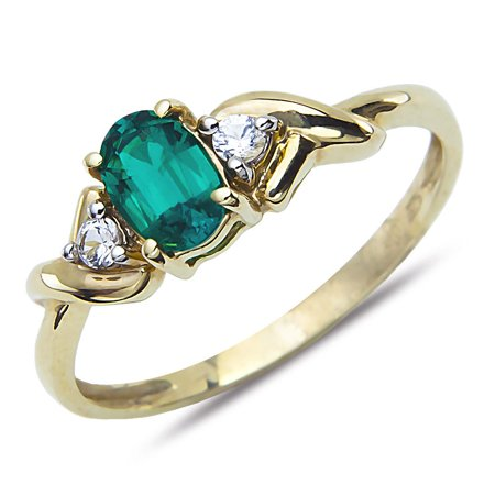 Yellow Gold Chatham Emerald Ring - Beautiful Created Emerald and White Topaz Fashion Ring 10k Yellow Gold for Women