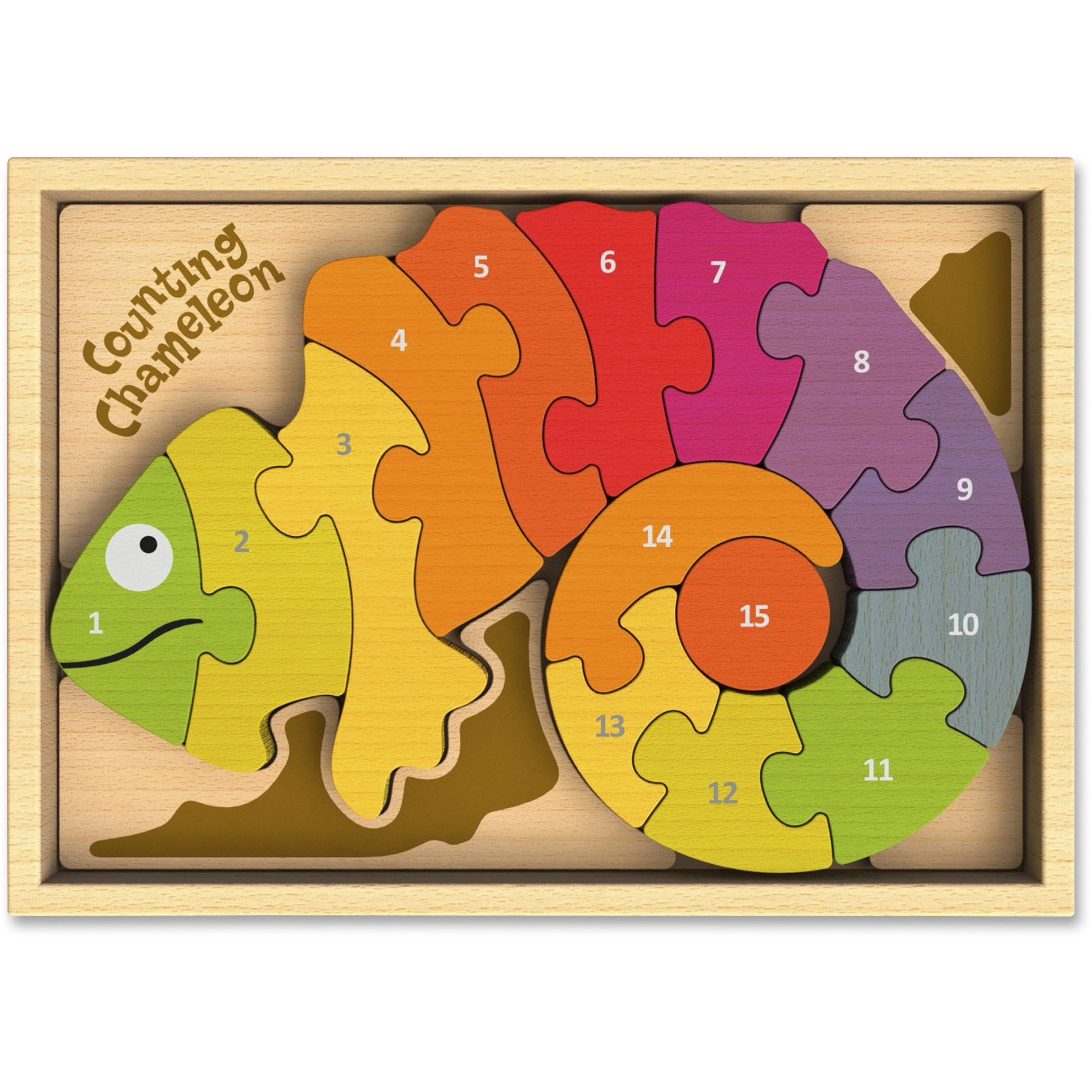 BeginAgain, BGAI1401, Toys Counting Chameleon Puzzle, 1 Each, Assorted