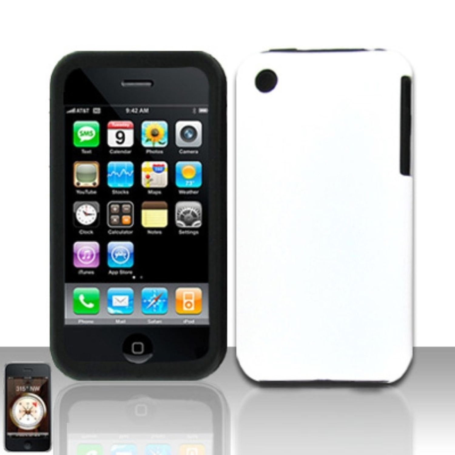 Insten White Silicone Case + Rubberized Hard Snap-On Cover For Apple iPhone 3G/3GS