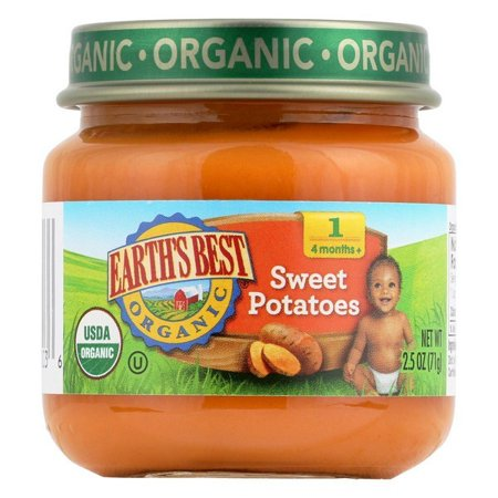 Earth's Best Organic Sweet Potatoes Baby Food - Stage 1 - Pack of 12 - 2.5