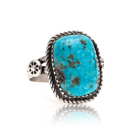 Natural Turquoise .925 Sterling Silver Certified Authentic Navajo Native American Handmade Ring