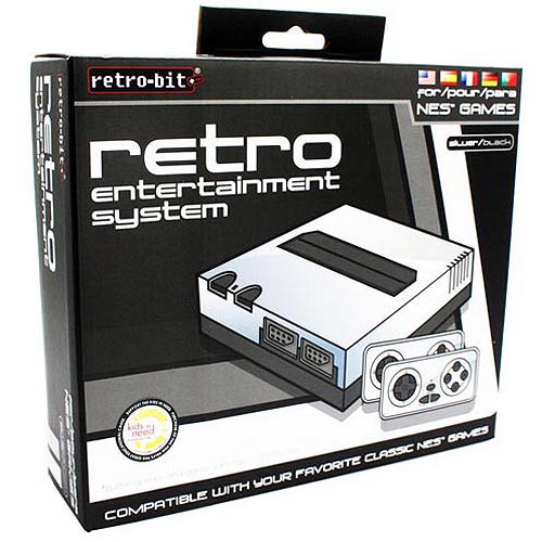 Retro-Bit NES - Plug and play TV game - black, silver