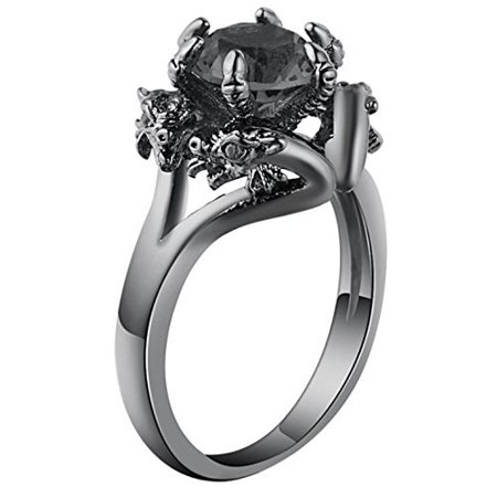 Ginger Lyne Collection Dragon Ring Black CZ Black Gun Metal Plated Engagement Ring
