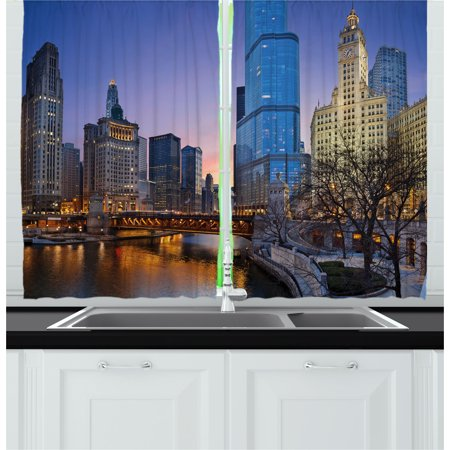 Landscape Curtains 2 Panels Set, Usa Chicago Cityscape with Rivers Bridge and Skyscrapers Cosmopolitan City Image, Window Drapes for Living Room Bedroom, 55W X 39L Inches, Multicolor, by Ambesonne