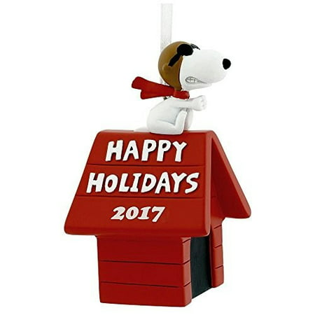 Hallmark Peanuts Snoopy Flying Ace on Doghouse Happy Holidays 2017 Christmas Tree Ornament Dated](Peanuts Outdoor Christmas Decorations)