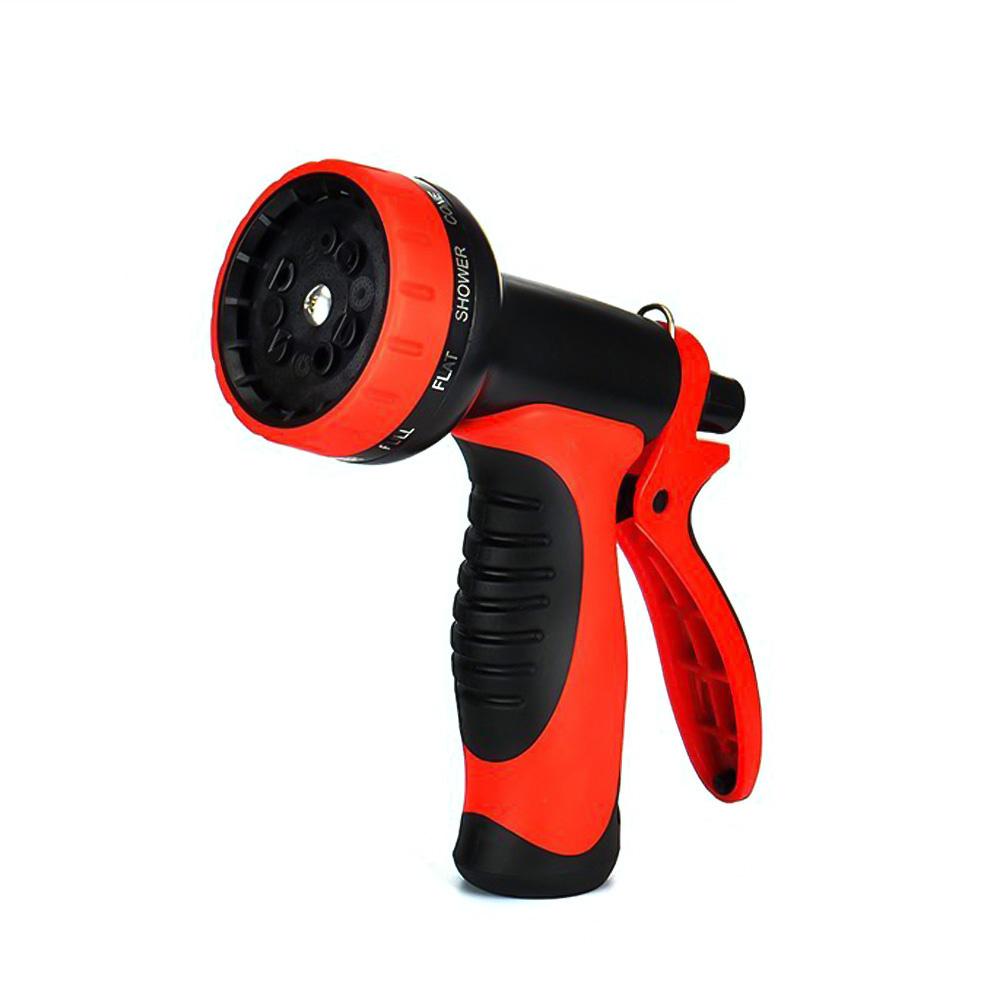 10 Modes Garden Hose Nozzle Water Sprayer Spray Pattern Tool Pressure Car Washing Gun- Red