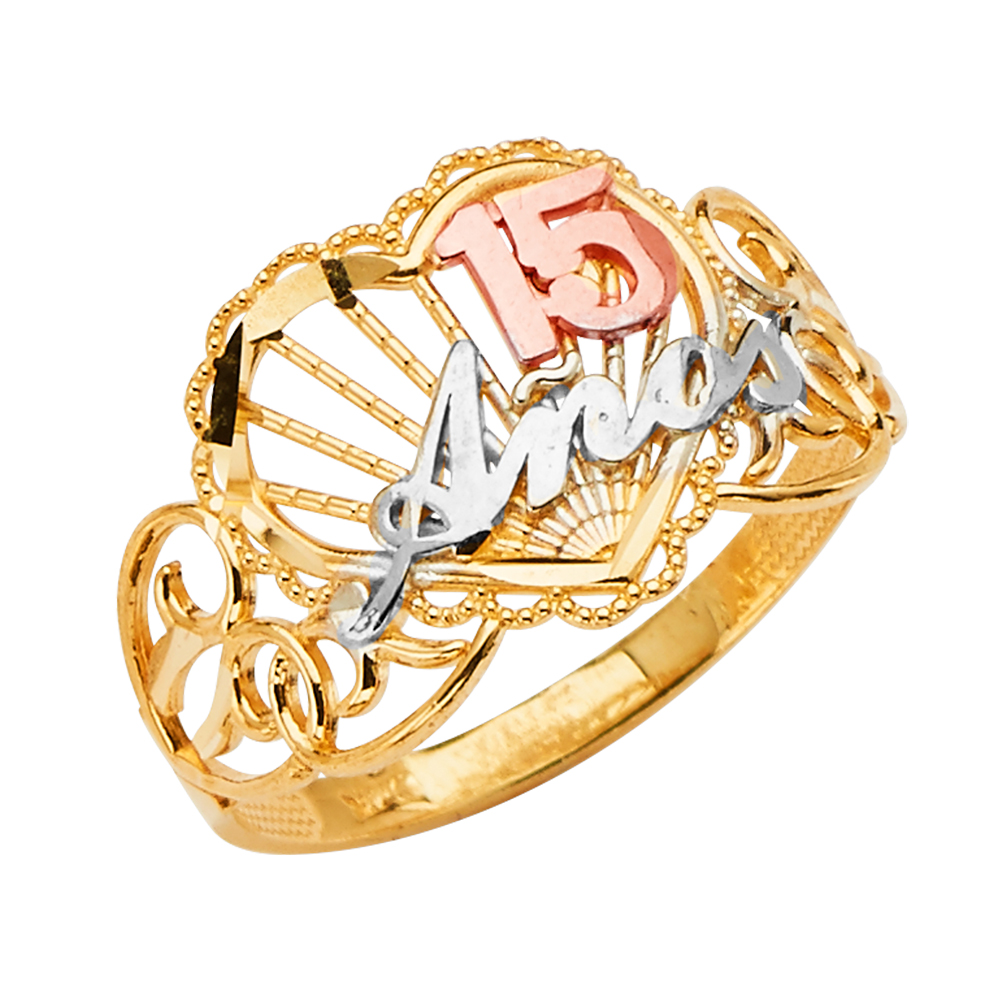 Jewels By Lux 14K Yellow White and Rose Three Color Gold Fifteen 15 Year Birthday Quincea era Fashion Anniversary Ring