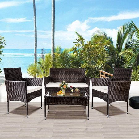 4 Pieces Outdoor Furniture, Sofa Wicker Conversation Set with Two Single Sofa, One Loveseat, Tempered Glass Table, Patio Furniture Sets for Porch Poolside Backyard Garden, Q8562