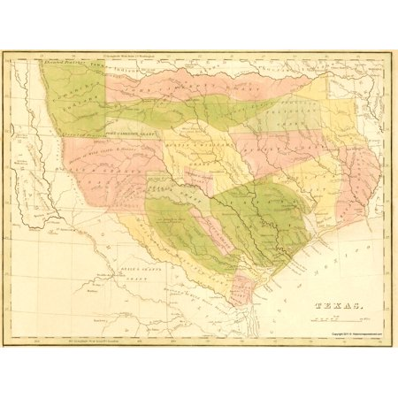 Old Map Of Texas.Old State Map Texas With Grants And Indian Territory 1819 23 X 30 68