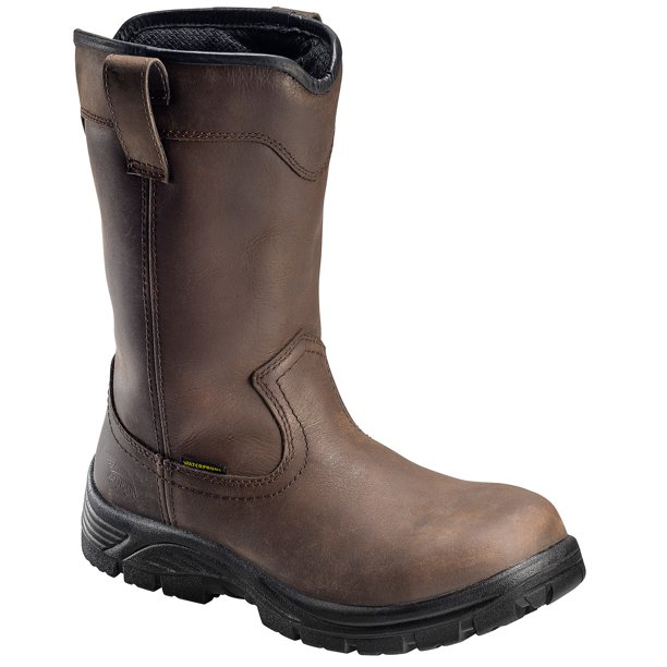 Men's Composite Safety Toe Wellington Pull On Work Boot - Brown