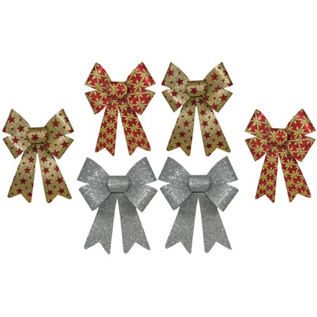 Glitter Christmas Bows 6x10 Inches - 6 Large Bows with 3 Different Styles Included Large Glam Bow