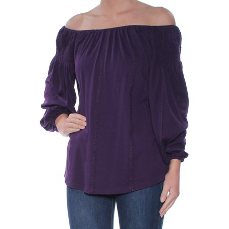 Ralph Lauren Womens Purple Ruched Embroidered 3/4 Sleeve Off Shoulder Top Size: XL