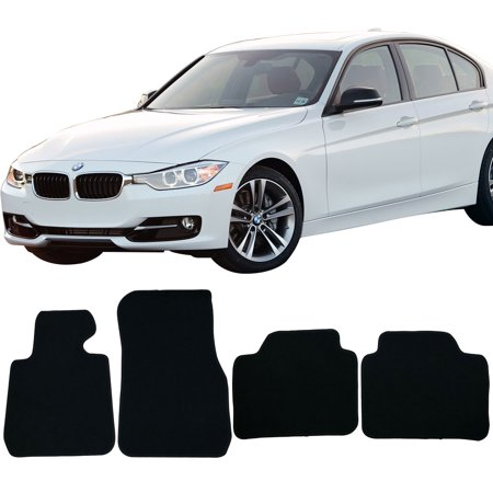 Fits 12-18 BMW F30 3 Series 4DR Sedan Floor Mats Front & Rear Black 4PC -Nylon