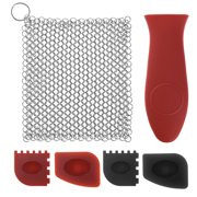 Uarter 6 Pcs Cast Iron Cleaner Set Cast-iron Cleaning Kit Chainmail Stainless Steel Scrubber Plastic Pan Scraper Silicone Handle Holder