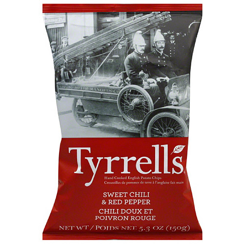 Tyrrell's Sweet Chili & Red Pepper Hand Cooked English Potato Chips, 5.3 oz, (Pack of 12)