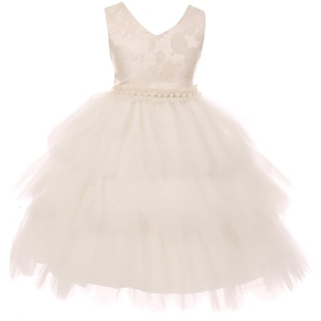 Toddler Girl Elegant Luxury V Neck Brocade Pageant Party Flower Girl Dress USA Ivory 2 KD 412 BNY Corner](Brocade Clothes)
